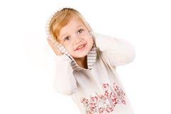 Petite fille mignonne d'isolement sur le blanc Image stock