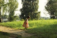 Petite fille mignonne dans la belle promenade de robe sur un champ d'été Image libre de droits