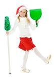 Petite fille mignonne dans le chapeau du père noël Photo libre de droits