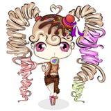 Petite fille mignonne de bande dessinée avec la sucrerie douce Conception de personnages illustration de vecteur