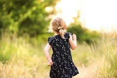 Petite fille mignonne dehors dedans en nature ensoleillée verte d'été Image libre de droits