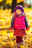 Petite fille mignonne en parc d'automne Images stock