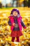 Petite fille mignonne en parc d'automne Photographie stock