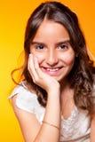 Petite fille mignonne en son premier jour de communion Images libres de droits
