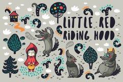 Petite fille mignonne et loups affamés gris dans l'ensemble de vecteur de forêt illustration libre de droits