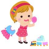 Petite fille mignonne jouant le rouge à lèvres de la mère Image stock