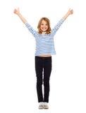 Petite fille mignonne montrant des pouces  Photo libre de droits