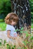 Petite fille mignonne près d'arbre de bouleau images stock