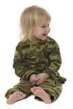 Petite fille militaire drôle Images stock