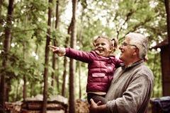 Petite fille montrant à son grand-père quelque chose dans la forêt Photo libre de droits