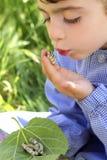 Petite fille palying avec le ver à soie dans des mains Photographie stock