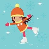 Petite fille patinant sur une piste Photo stock