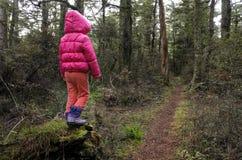 Petite fille perdue dans une forêt tropicale image libre de droits