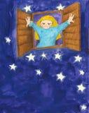 Petite fille pleurant pendant la nuit Photos libres de droits