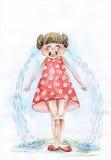 Petite fille pleurante. aquarelle Photographie stock libre de droits