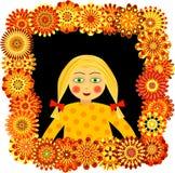Petite fille regardant dans l'hublot de fleur Illustration de Vecteur