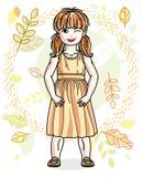 Petite fille rousse heureuse mignonne posant sur le fond du paysage d'automne et des v?tements sport ? la mode de port Vecteur illustration stock