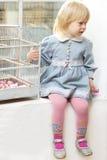 Petite fille s'asseyant près d'un hublot Photographie stock libre de droits