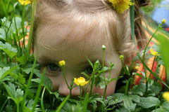 Petite fille sur l'herbe Image stock