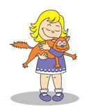 Petite fille tenant un chat Images libres de droits