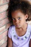Petite fille triste d'african-american Image stock