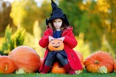 Petite fille utilisant le costume de Halloween sur une correction de potiron Image stock