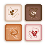 Petite Fours. Four small cakes drawn in illustrator Stock Photos