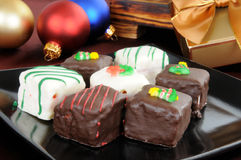Petite Fours at Christmas Stock Photos