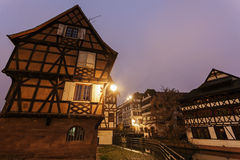 Petite-France architecture at dawn. Strasbourg, Alsace, France Royalty Free Stock Photos
