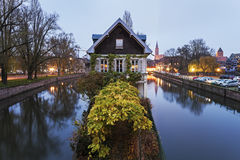 Petite-France architecture. At dusk. Strasbourg, Alsace, France Royalty Free Stock Photo