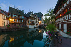 The Petite-France area in night Strasbourg. The Petite-France area in the center of Strasbourg at a summer night Stock Photography