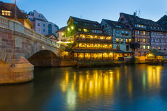 The Petite-France area in Strasbourg. The Petite-France area in the center of Strasbourg at night Stock Photos
