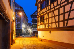 Petite France in the morning, Strasbourg, Alsace. Traditional Alsatian half-timbered houses in Petite France during morning blue hour, Strasbourg, Alsace, France Stock Images