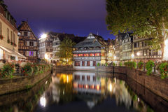 Petite-France at night, Strasbourg, France. Night scene of the pitoresque district Petite-France (once the home of the tanners of the city) in Strasbourg, France Stock Photo