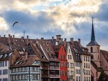 Petite France område i Strasbourg royaltyfria foton