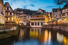 Petite France in Strasbourg, France. Petite France district with Christmas decorations in Strasbourg, France stock photo