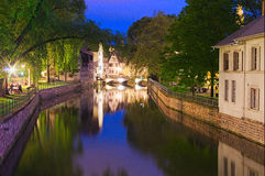 Petite France. Strasbourg, night view with color reflections in a canal in the historic Petite France district Stock Images