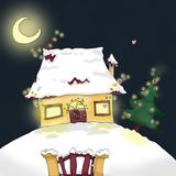 Petite home. Artistic digital illustration of a little home in a Christmas night, with snow, moon, Christmas tree and coloureds lights Royalty Free Stock Images
