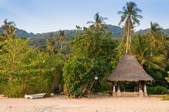 Petite hutte avec le toit couvert de chaume dans la jungle sur la plage Photographie stock