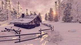 Petite hutte confortable parmi les sapins neigeux au coucher du soleil Photo libre de droits