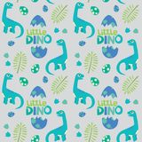 Petite illustration de vecteur de fond de Dino Brontosaurus Seamless Pattern Gray Photos stock