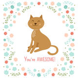 Petite illustration mignonne de vecteur de chat Image libre de droits