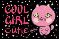 Petite illustration rose de vecteur de chat de cutie frais de fille Photographie stock