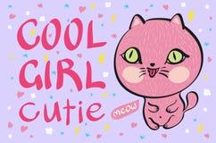 Petite illustration rose de vecteur de chat de cutie frais de fille Images stock