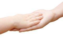 Petite main de gosses chez la main de la femme Photos libres de droits