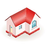 Petite maison avec le toit rouge Photographie stock