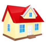Petite maison avec le toit rouge. D'isolement sur un blanc Photo stock