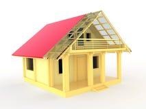 Petite maison en bois avec la terrasse et le balcon Images stock