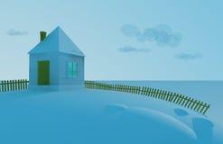 Petite maison sur une neige Illustration Libre de Droits