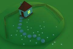 Petite maison sur une pelouse en soirée Illustration de Vecteur
